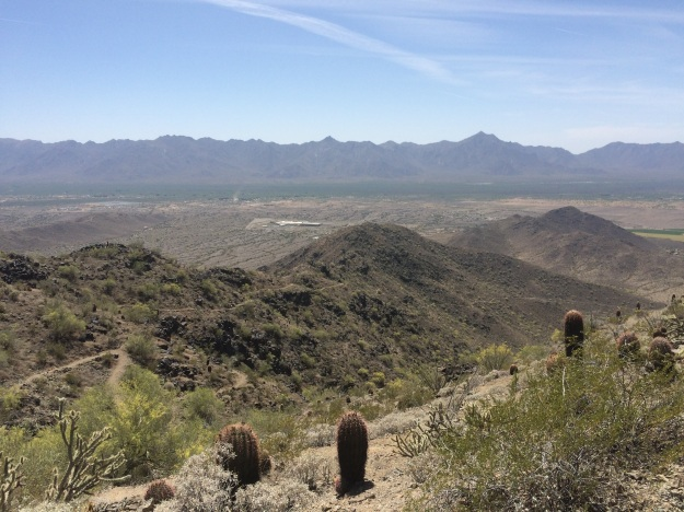 Looking west from the high point.  The Estrella Mountains in the distance; the Gila River Valley and its irrigated fields; San Juan Lookout the light 'tan' area at the mid right edge of photo; and the line of the trail I just ascended at the west end of the Ma Ha Tauk Range.