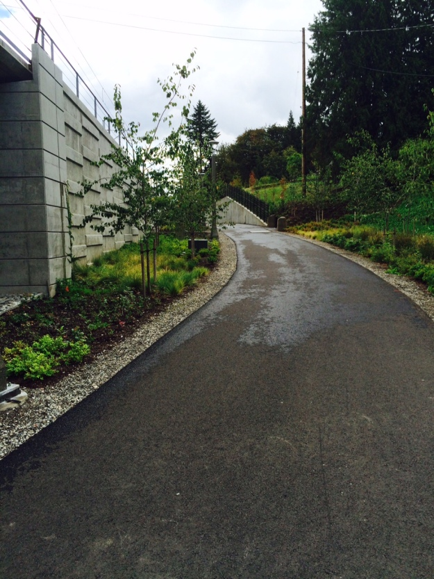 The 'steepest' part of the path getting up to rail grade.