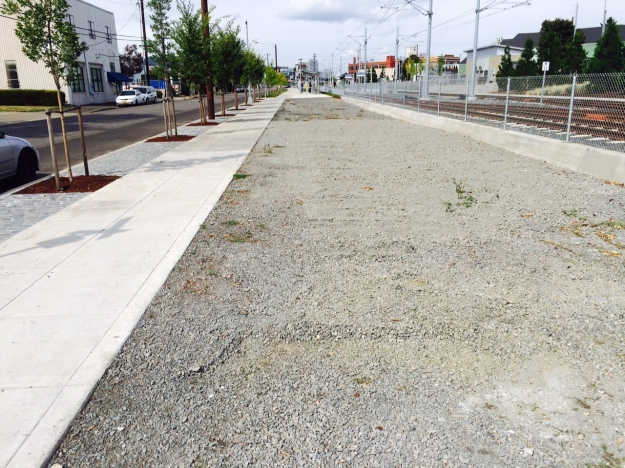 This area confuses me. It begins next to the above street runoff 'facility', is filled with only gravel, is below sidewalk grade and promises only an unabated future of weeds.