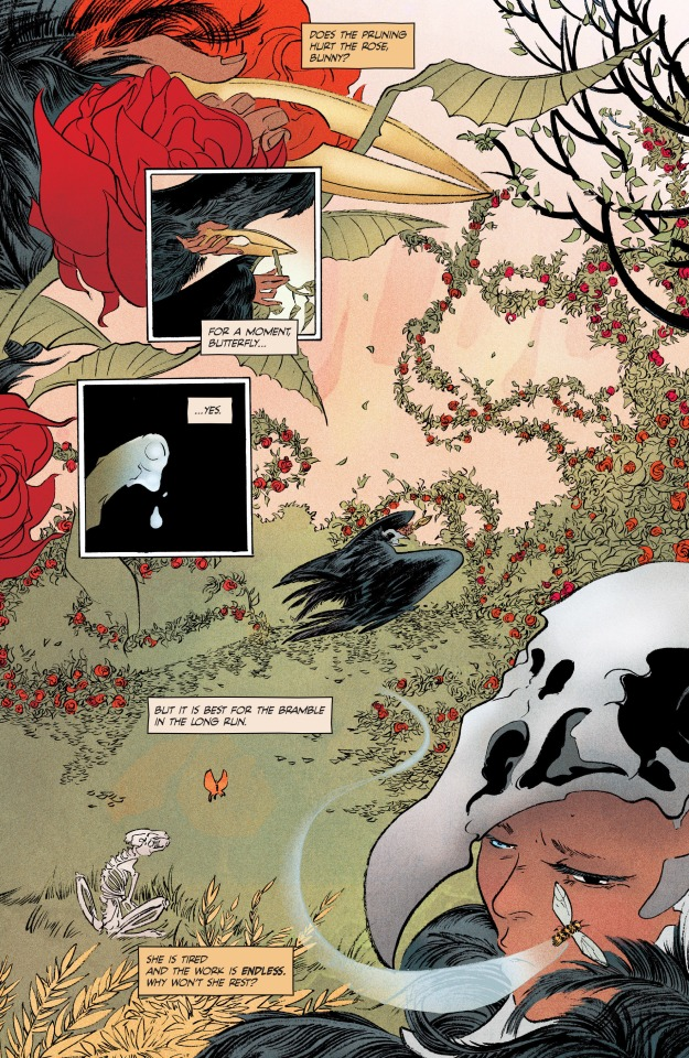 Illustrations from 'Pretty Deadly', written bj Kelly Sue Deconnick, art Emma Rios, colors Jordie Bellaire, Image Comics 2015
