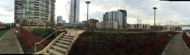 This shot is taken from the 'Urbanology Trail' an asphalt path following a contour around the east and north side.  This shows a 180 degree view which includes all of the new housing construction to the west and the new Cosmopolitan On the Park luxury tower to the south.  This is shot looking across the intermediate bank uphill from the Path that could easily have been replanted to a xeric planting scheme.