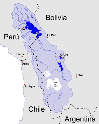 A map of the endorheic river basins that characterize the altiplano. The basin lies between two separated ranges of the Andes, the Cordillera Occidental and the Cordillera Oriental and is without any drainage by river to the ocean. In the north is Lake Titicaca and the Desaguadero River system; in the south is the Salar de Uyuni salt flat. The non-endorheic altiplano extends southward into Argentina and Chile.