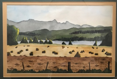 A watercolor from my parents house on Lone Pine where they lived from the late '80's through the '90's. Alfalfa bales await their trip to the barn. Baynes Sound, in the middle distance, separates Denman from Vancouver Island with its spine of mountains. The local ferry crosses this sound regularly connecting residents via the community of Buckley Bay.