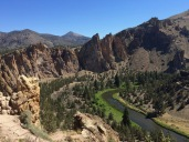 Here the Crooked River swings around Smith Rock, the desert transformed by the river along its banks. This area supports a stand of Ponderosa Pine miles away from the next nearest stand in the foothills of the Cascades or east in the Ochocos.