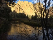 A late afternoon shot of the slow moving Crooked River. Smith Rock forms part of the many thousands of years old caldera that stretches to the east and south of here.