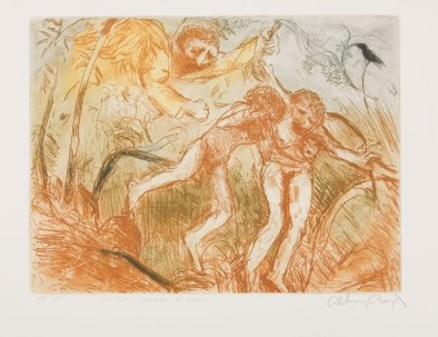 Arthur Boyd, Expulsion- Garden of Eden 1997, brings a modern sensibility to the story, an angry angel driving them out of Eden.