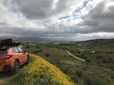 Our Subaru endorsement moment on the road down from Caliente Ridge.