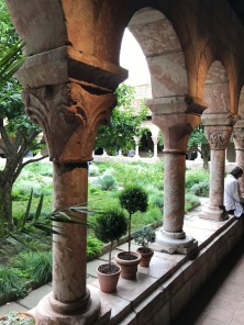 The formal courtyard garden at the Cloisters of Metropolitan Museum of Art located above the Hudson River in the Bronx.