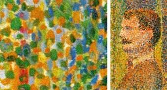 """A close up of Georges Seurat, """"La Parade de Cirque"""""""